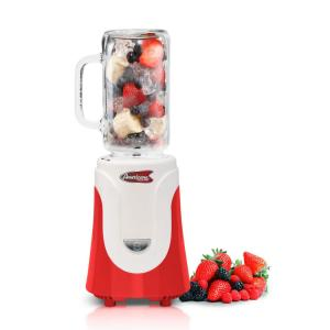 Americana 20 oz. Red Glass Jar Personal Drink Blender by