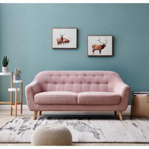 Harper & Bright Designs Pink Fabric Contemporary Modern Sofa ...