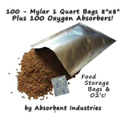 8 in. x 8 in. Mylar Bags 100-Pack and Oxygen Absorbers (100 per Pack)