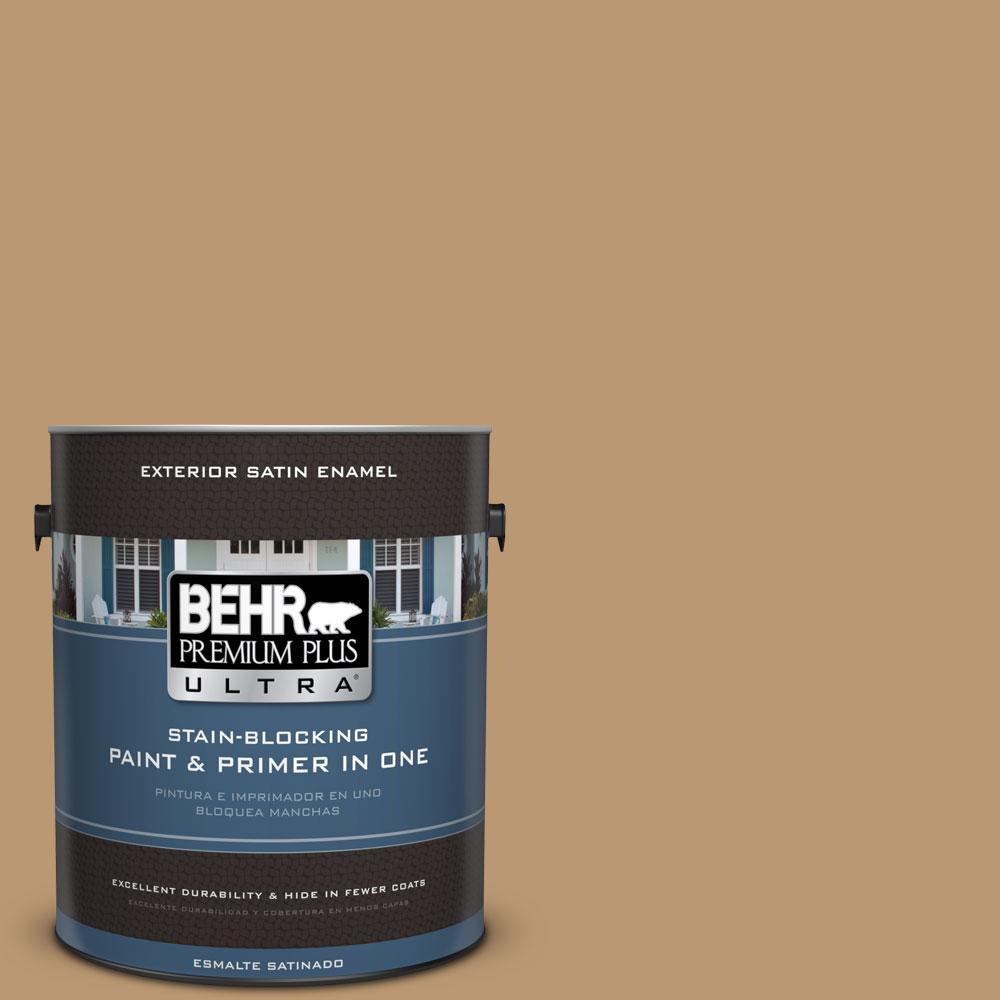 BEHR Premium Plus Ultra 1-gal. #ECC-24-1 Amber Leaf Satin Enamel Exterior Paint