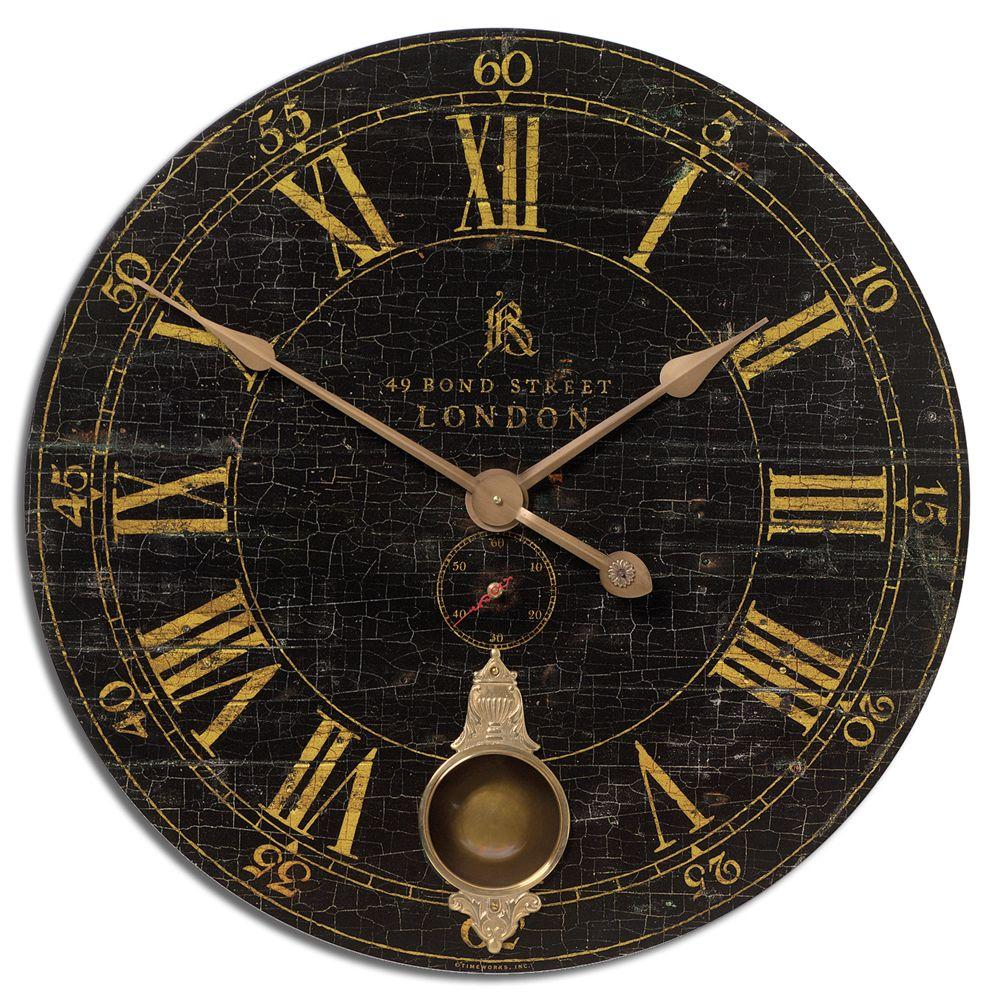 Global Direct 30 in. Black Antique Reproduction Round Wall Clock