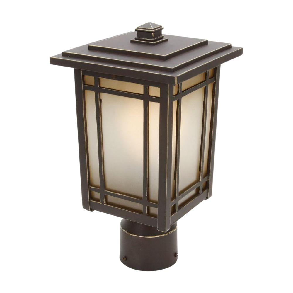 HomeDecoratorsCollection Home Decorators Collection Port Oxford 1-Light Oil-Rubbed Chestnut Outdoor Post Mount Lantern