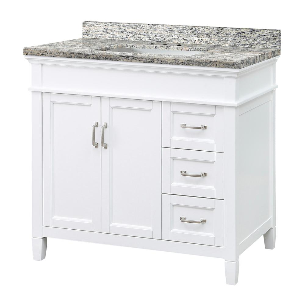 Home Decorators Collection Ashburn 37 in. W x 22 in. D Vanity in White with Granite Vanity Top in Santa Cecilia with White Sink