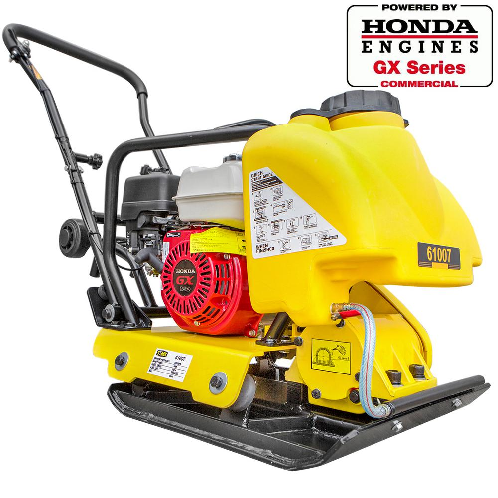 Stark 5.5 HP Gas Vibratory Plate Compactor Walk-Behind Tamping Rammer w/ Built-in Water Tank, Powered by Honda GX160 Engine