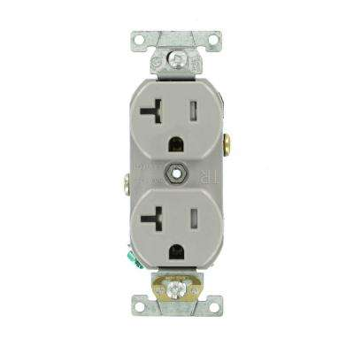 20 Amp Commercial Grade Tamper Resistant Side Wired Self Grounding Duplex Outlet, Gray
