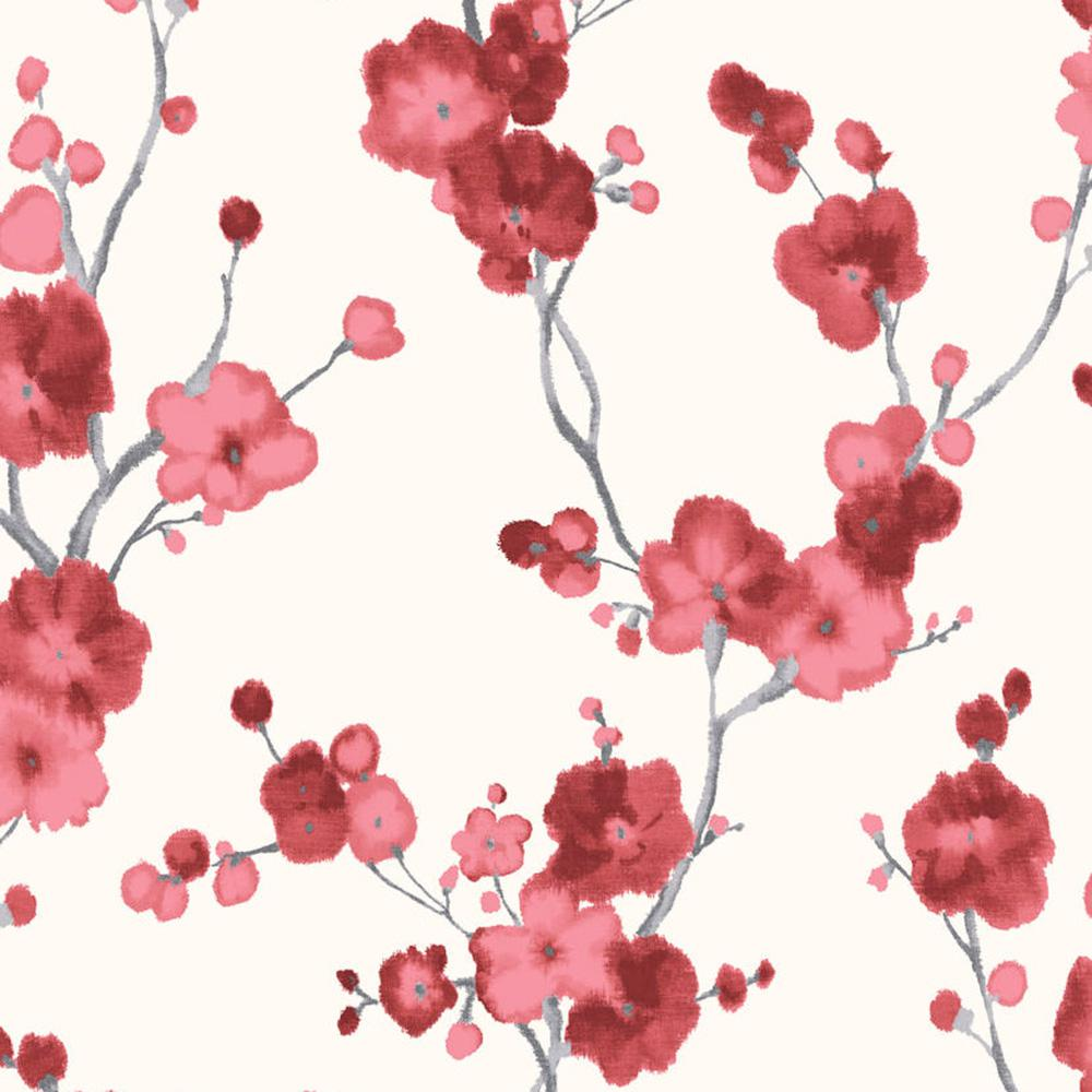 Watercolor Minimalist Blossoms Floral Red And White Wallpaper R4694