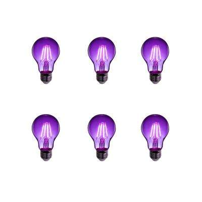 25-Watt Equivalent A19 Medium E26 Base Dimmable Filament Purple Colored LED Clear Glass Light Bulb (6-Pack)