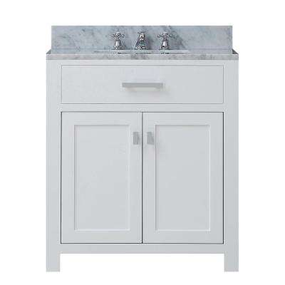 Madison 30 in. W x 21.5 in. D Vanity in White with Marble Vanity Top in White with White Basin and Faucet