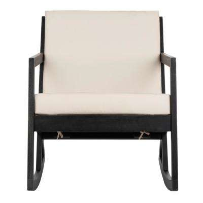 Vernon Black Wood Outdoor Rocking Chair with White Cushion