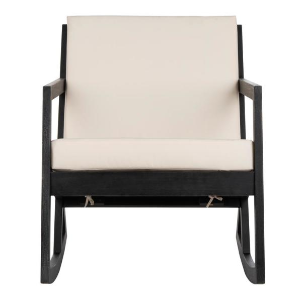 Vernon Black Wood Outdoor Rocking Chair with White Cushions