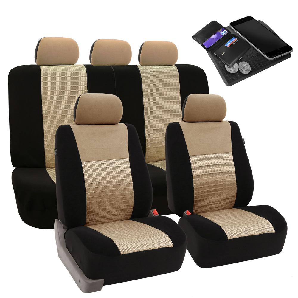 FH Group Fabric 47 in. x 23 in. x 1 in. Deluxe 3D Air Mesh Full Set Seat Covers