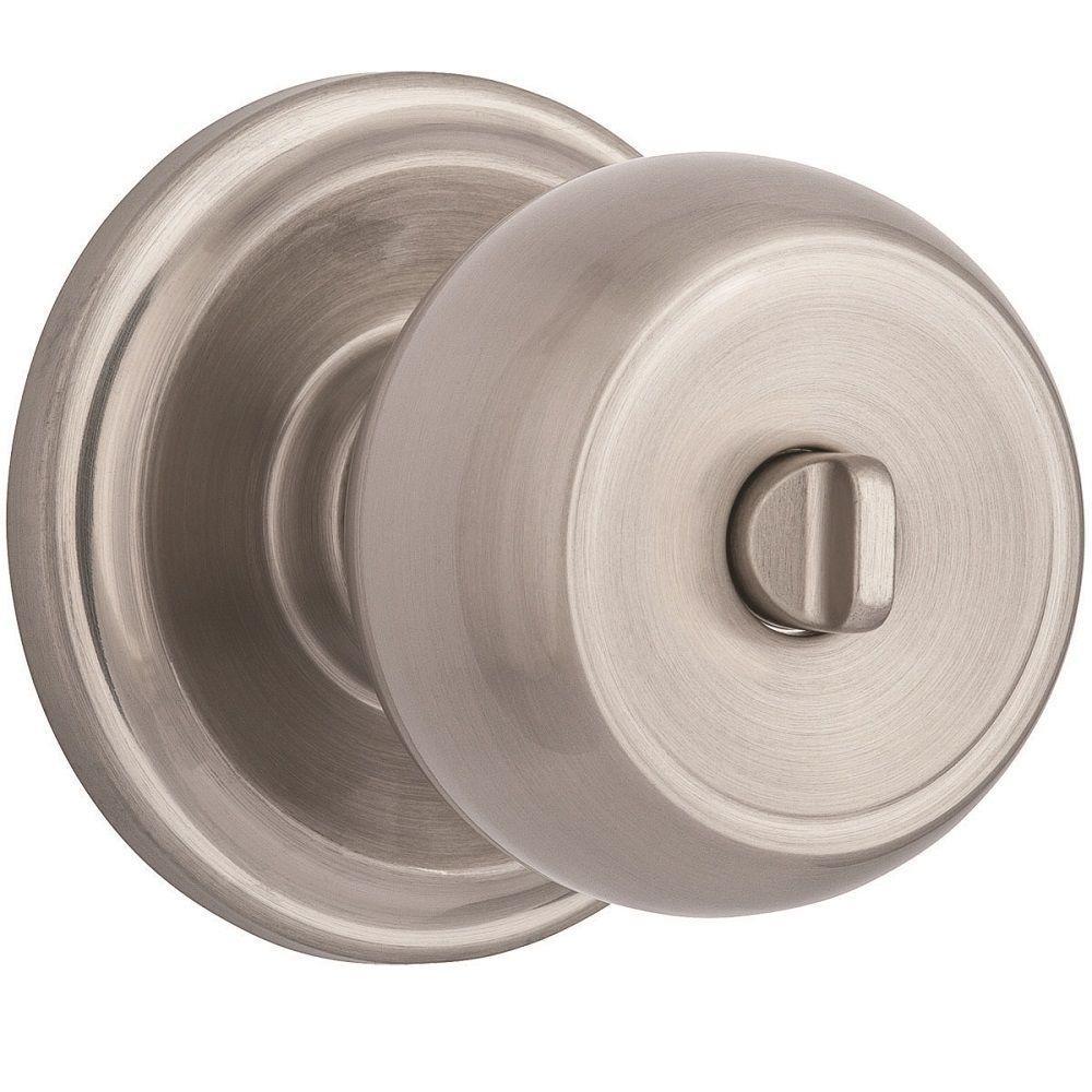 Brinks Stafford Satin Nickel Turn Lock Privacy Bed/Bath Push Pull Rotate  Door Knob