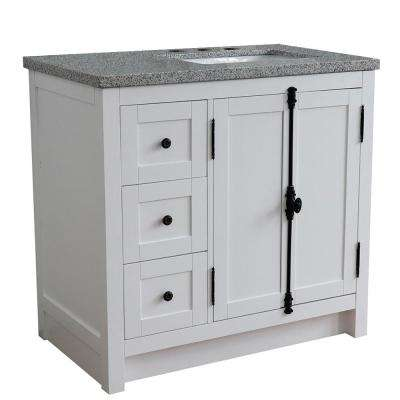 37 in. W x 22 in. D x 36 in. H Bath Vanity in Glacier Ash with Gray Granite Vanity Top and Right Side Rectangular Sink
