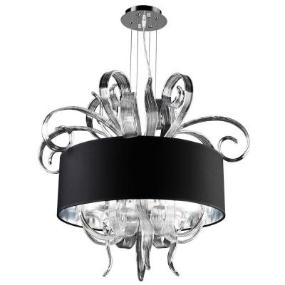 6-Light Polished Chrome Chandelier with Black Fabric Shade and Clear Glass Shade