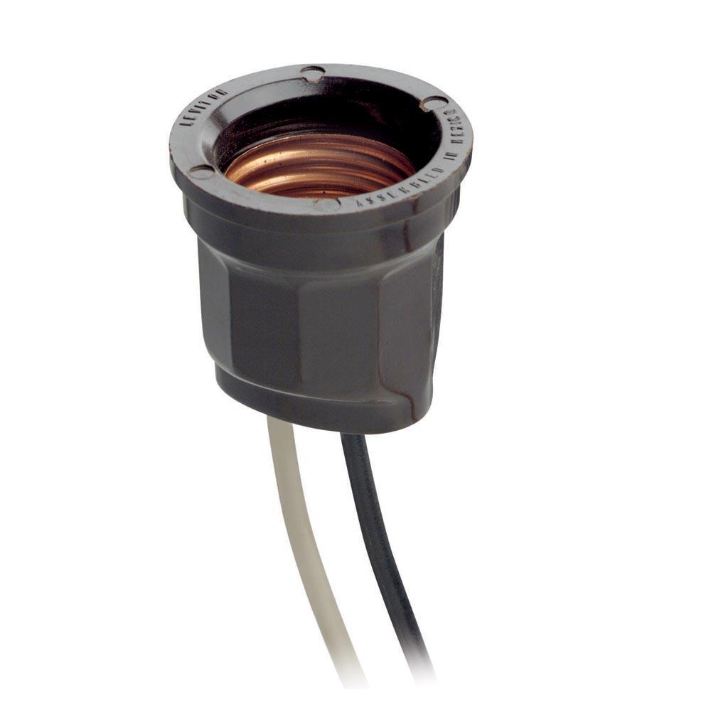 660W Phenolic Pan Medium Base Keyless Incandescent Lampholder, White