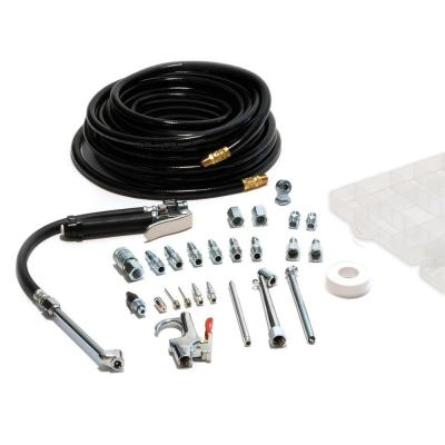 Garage Tire Inflator with Air Compressor Accessory Kit and 50 ft. Air Hose (20-Piece)