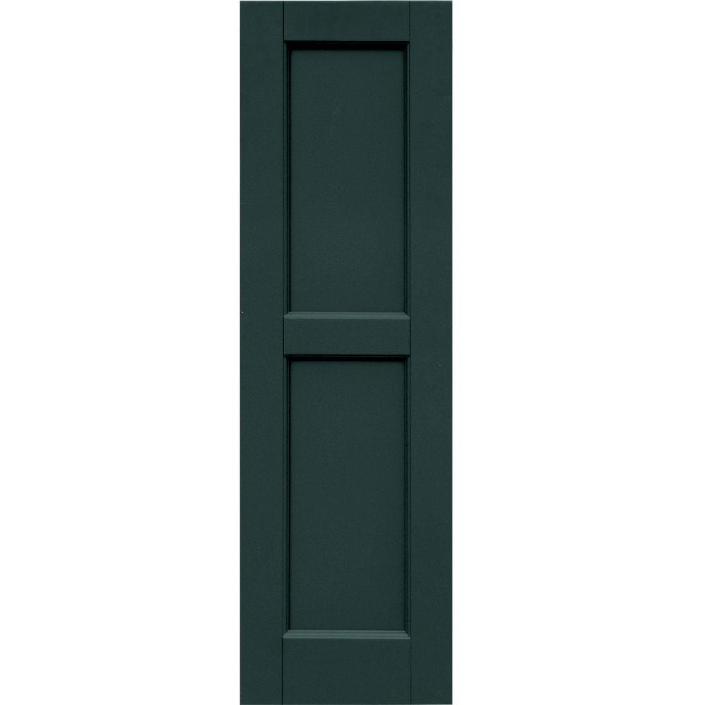 Winworks Wood Composite 12 in. x 40 in. Contemporary Flat Panel Shutters Pair #638 Evergreen