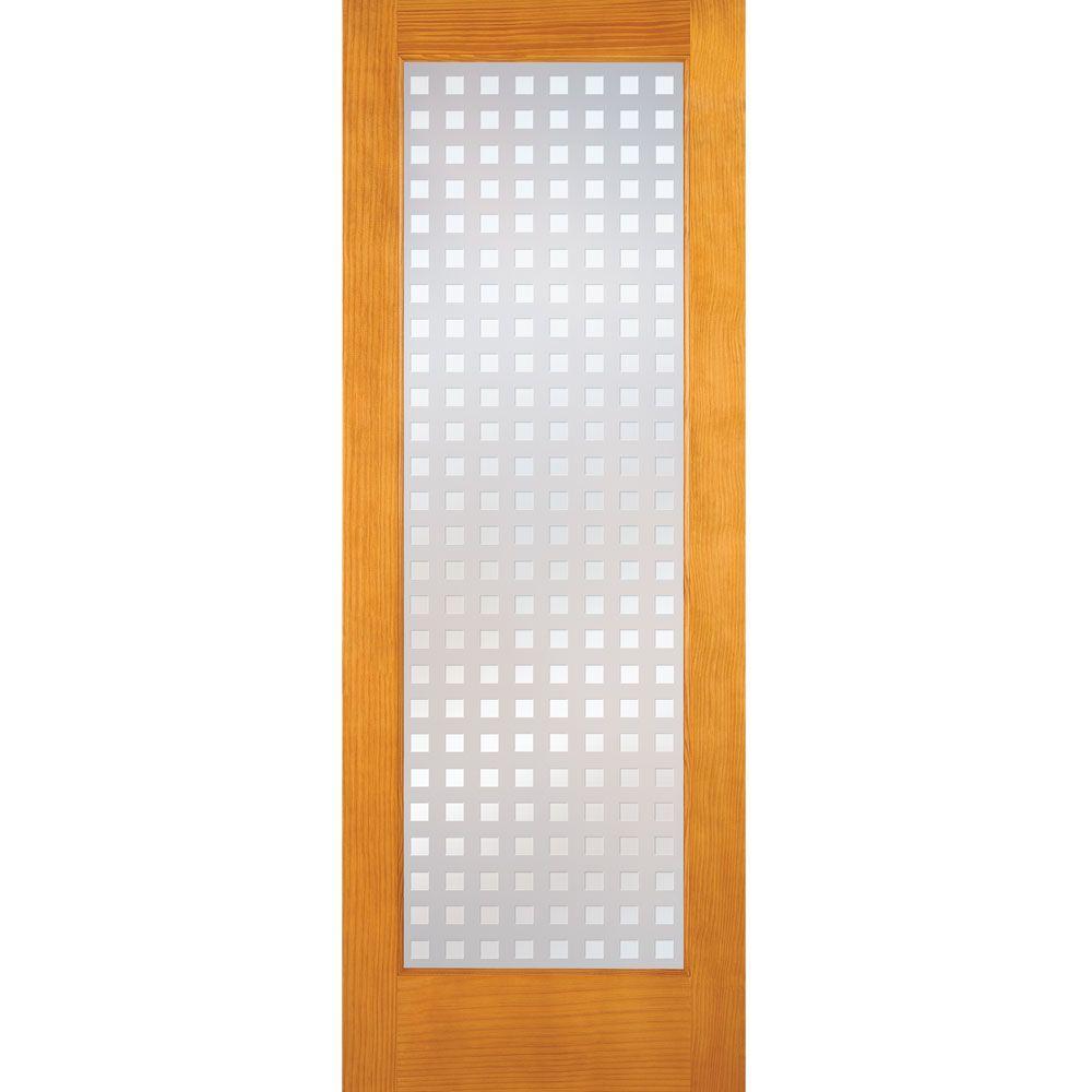 Feather River Doors 30 in. x 80 in. Multicube Woodgrain 1 Lite Unfinished Pine Interior Door Slab