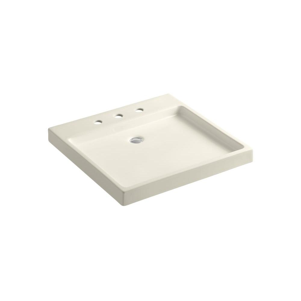 KOHLER Purist Wading Pool Wall-Mount Ceramic Bathroom Sink in Almond
