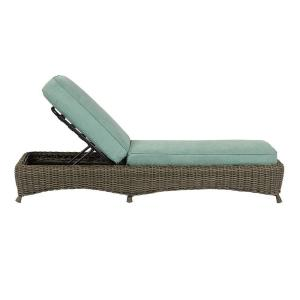 Superior Lake Adela Weathered Gray Patio Chaise Lounge With Surf Cushions 0482300390    The Home Depot