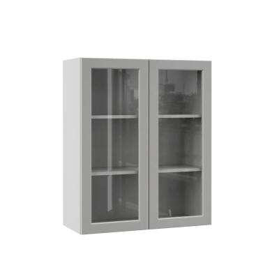 Melvern Assembled 30x36x12 in. Wall Kitchen Cabinet with Glass Doors in Heron Gray