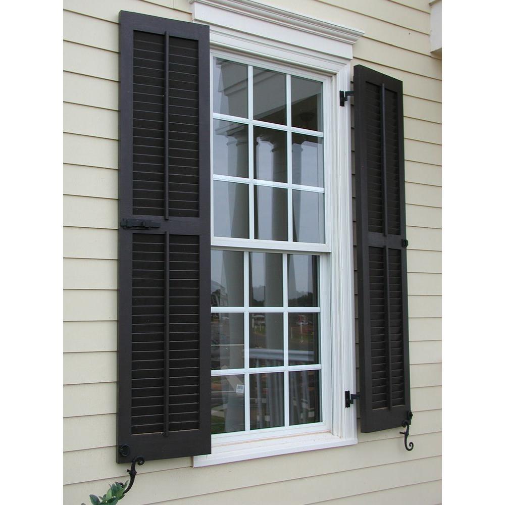 Ekena Millwork 12 In X 47 In Exterior Composite Wood Louvered Shutters Pair Black Cwl12x047blc The Home Depot