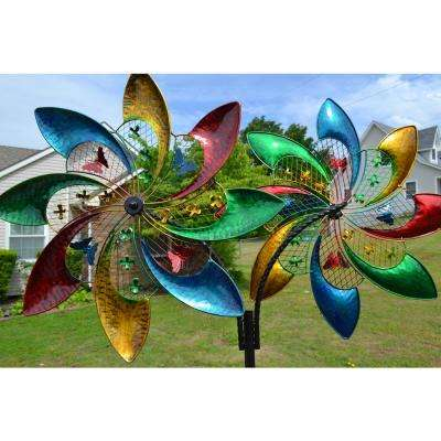 Double Colorful Pinwheel Wind Spinner