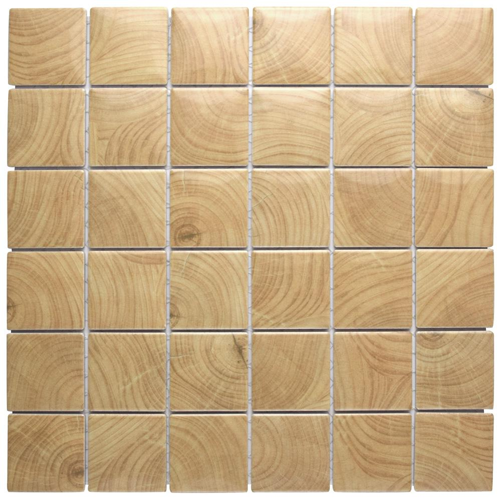 Merola Tile Clico Wood Beige 11-5/8 in. x 11-5/8 in. x 6 mm Porcelain Mosaic Tile
