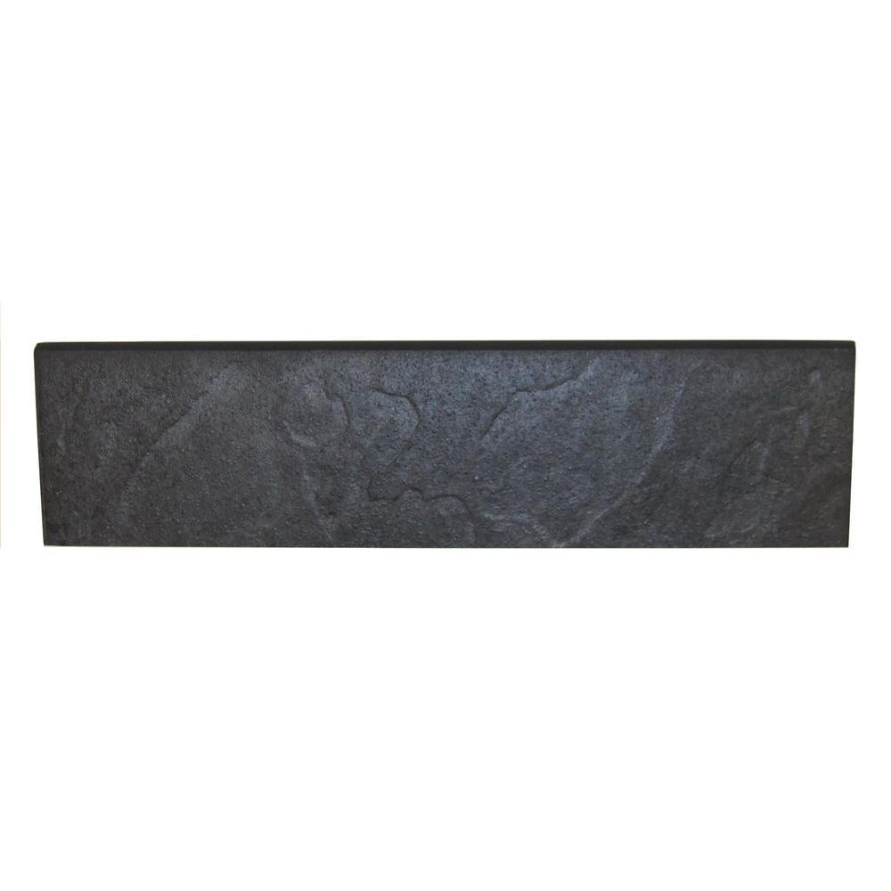 Daltile continental slate asian black 3 in x 12 in porcelain bullnose floor and wall tile - Home depot black granite tile ...