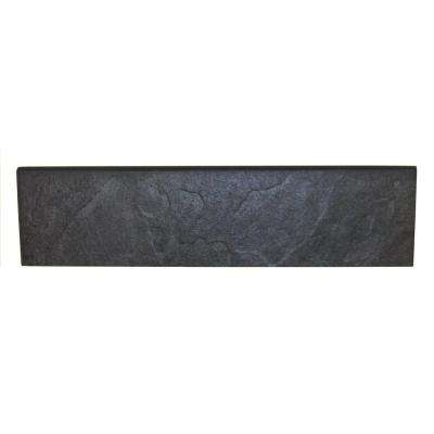 Continental Slate Asian Black 3 in. x 12 in. Porcelain Bullnose Floor and Wall Tile