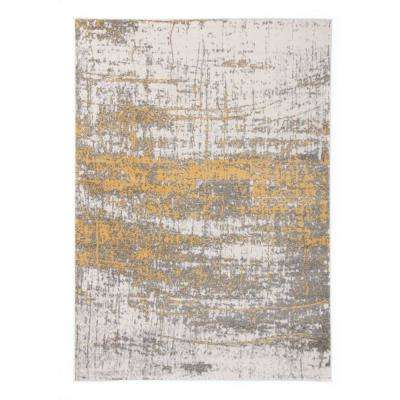 Distressed Modern Abstract Design 7 ft. 10 in. x 10 ft. Yellow Area Rug