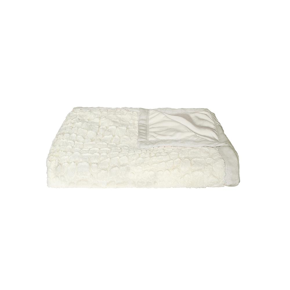 Ivory Mink 50 in. x 70 in. Faux Fur Indoor Throw