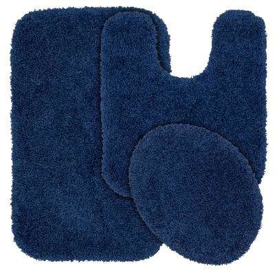 Serendipity 3 Piece Washable Bathroom Rug Set in Navy
