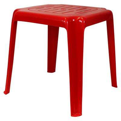 17 in. Red Stackable Slotted Plastic Outdoor Side Table