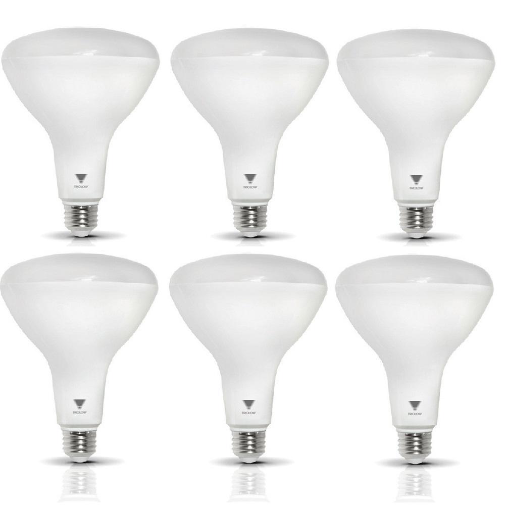 85-Watt Equivalent BR40 Dimmable 1,200-Lumen LED Light Bulb Deco White (6-Pack)