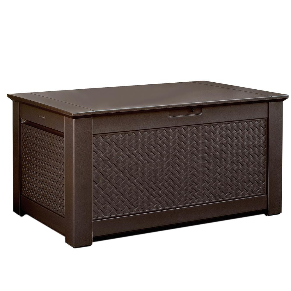 Rubbermaid 93 Gal Chic Basket Weave Patio Storage Bench Deck Box In Brown 1859930 The Home Depot