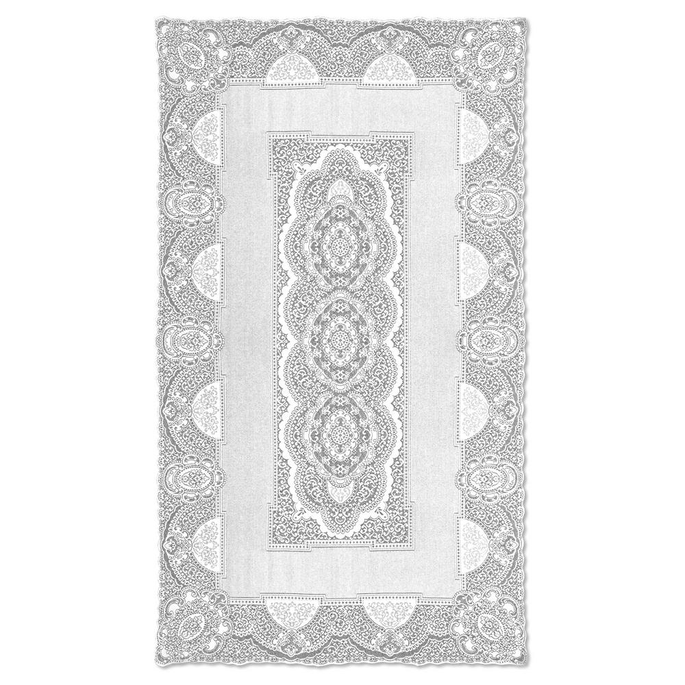 Ordinaire Heritage Lace Canterbury Classic Rectangle White Cotton Tablecloth