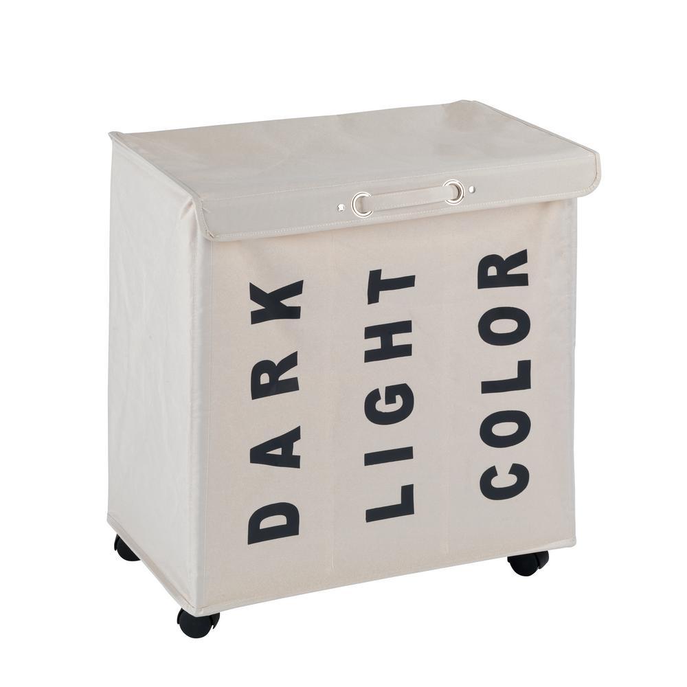 Wenko trivo laundry bin in beige 62081100 the home depot for Beige bathroom bin