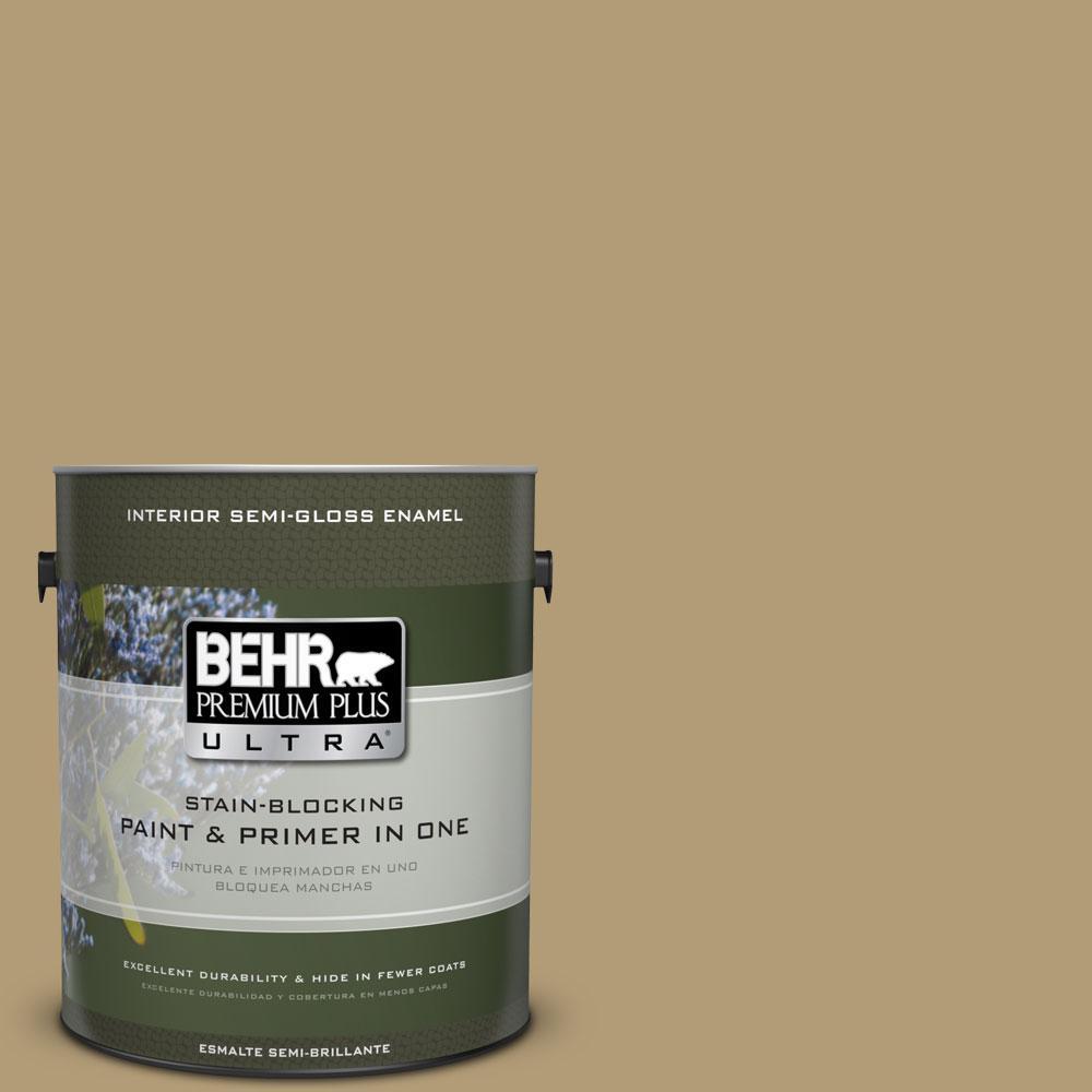 BEHR Premium Plus Ultra 1-gal. #S320-5 Ginger Tea Semi-Gloss Enamel Interior Paint