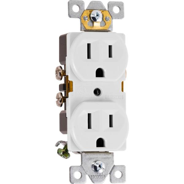 15-Amp Heavy Duty Grounding Duplex Receptacle 2-Outlet, White