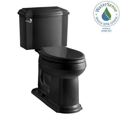 Devonshire 2-piece 1.28 GPF Single Flush Elongated Toilet with AquaPiston Flush Technology in Black, Seat Not Included