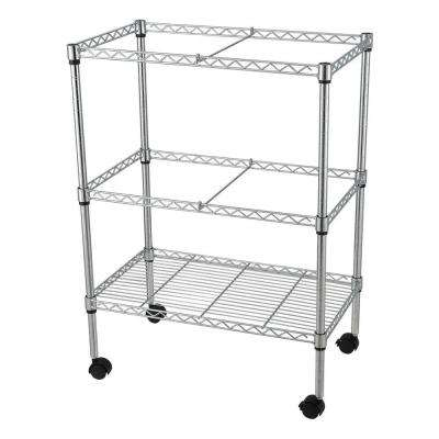Double-Tier Steel 4-Wheeled File Cart in Chrome