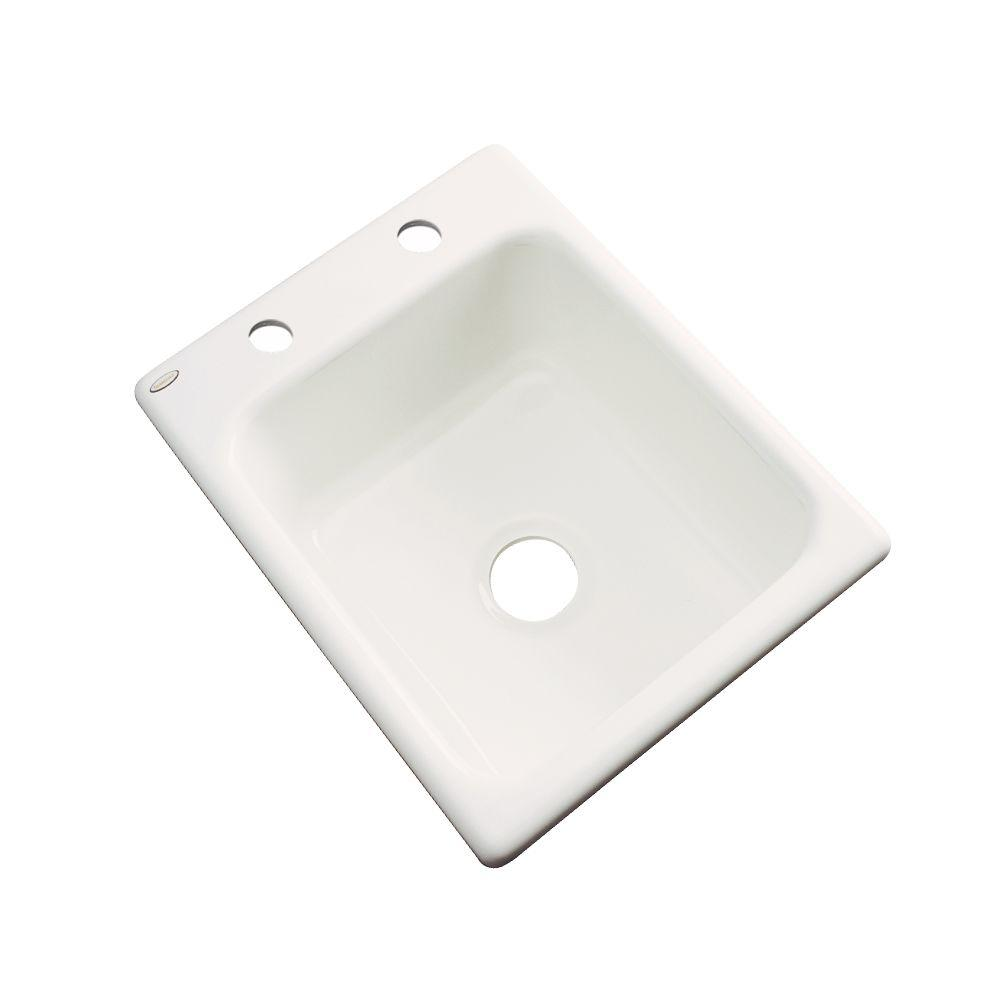 Thermocast Crisfield Drop-In Acrylic 17 in. 2-Hole Single Basin Entertainment Sink in Biscuit