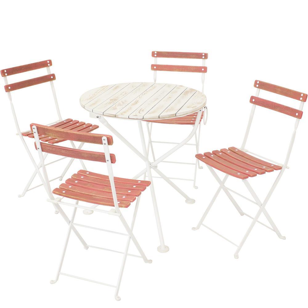 Sunnydaze Decor Classic Cafe Chestnut 5-pc Wood Folding Outdoor Bistro Set in Pink