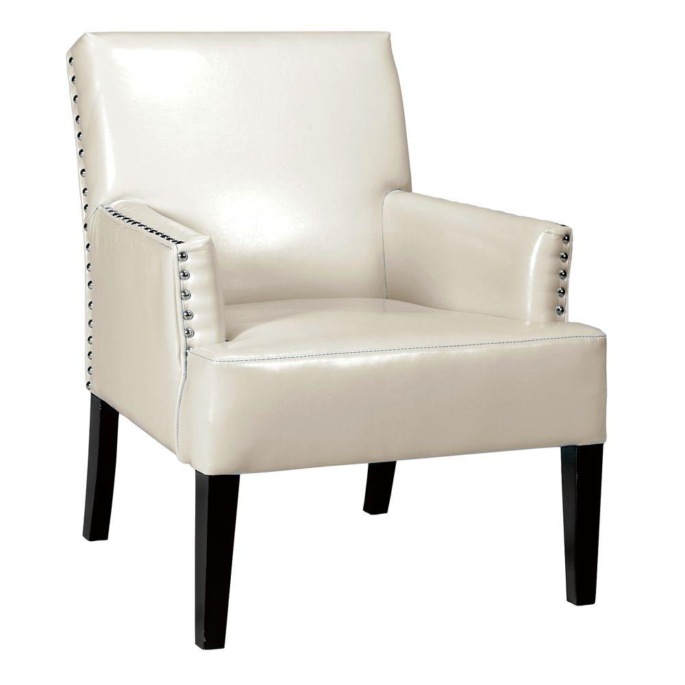 Home Decorators Collection 28 in. W Cooper Cream Bonded Leather Arm Chair
