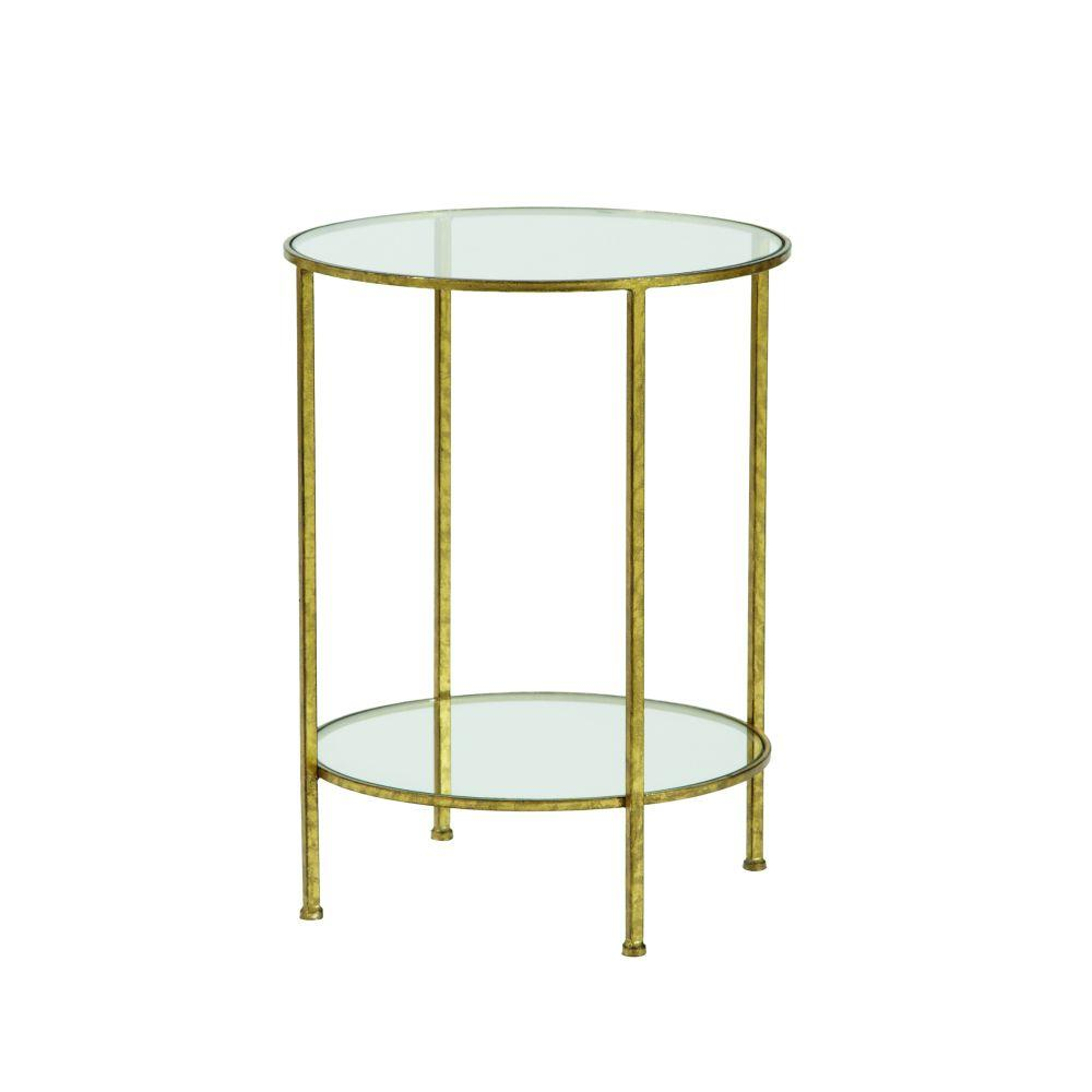 Attractive Home Decorators Collection Bella Aged Gold Glass Top End Table 9501300910    The Home Depot