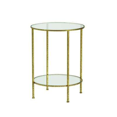 Bella Aged Gold Glass Top End Table