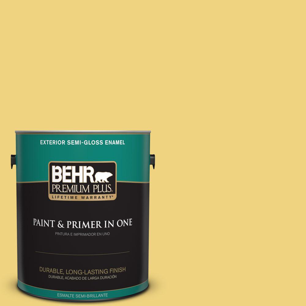1-gal. #380D-4 Feather Gold Semi-Gloss Enamel Exterior Paint