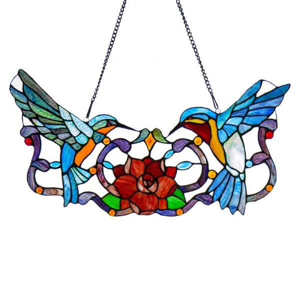 Multi-Colored Stained Glass Hummingbird Floral Window Panel