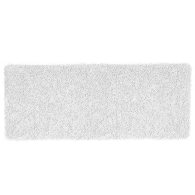 Shag White 24 in. x 60 in. Memory Foam Bath Mat